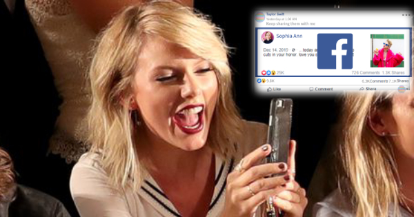 Taylor Swift liked and forwarded your Facebook post